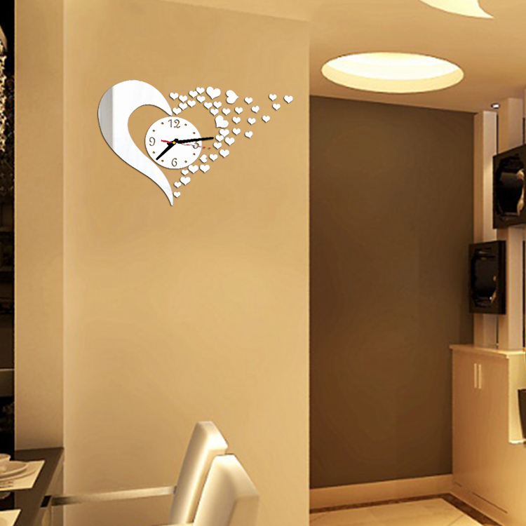 horloge murale stickers coeur deco 39 clock. Black Bedroom Furniture Sets. Home Design Ideas