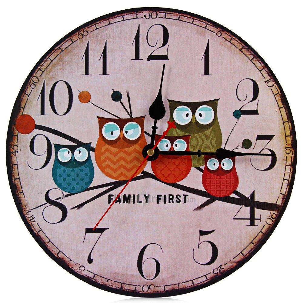 Horloge murale hibou vintage rustique deco 39 clock for Horloge murale bois moderne