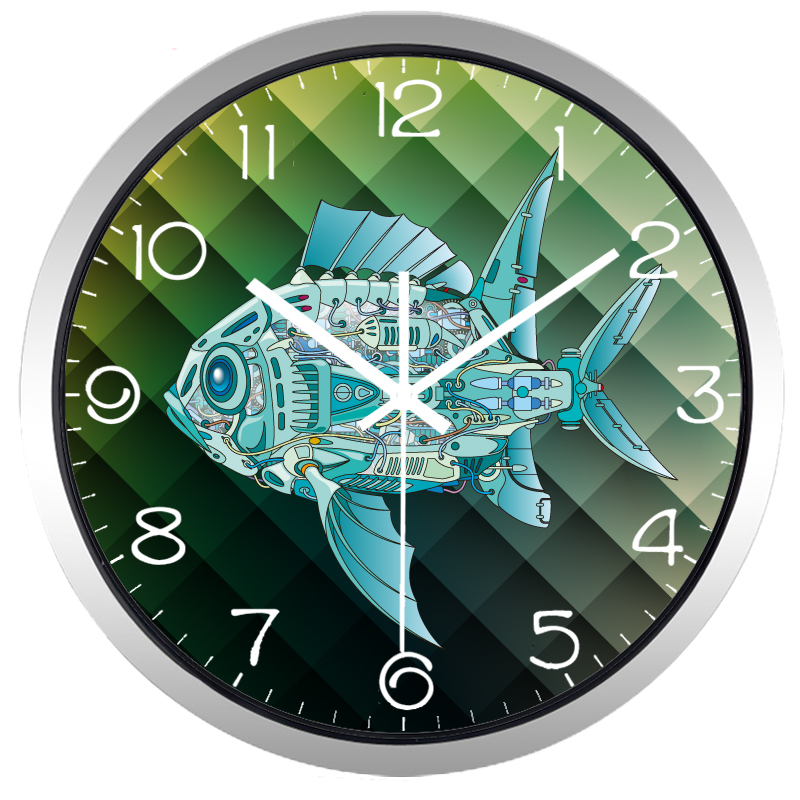bande dessin e industrielle machine poissons horloge murale deco 39 clock. Black Bedroom Furniture Sets. Home Design Ideas