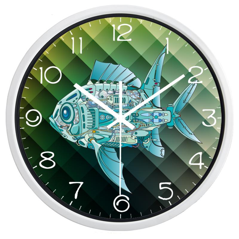 bande dessin e industrielle machine poissons horloge murale deco 39 clock. Black Bedroom Furniture Sets. Home Design Ideas