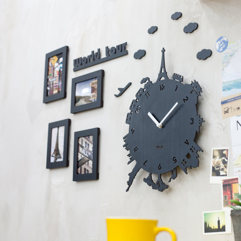creative world tour horloge murale salon moderne europ enne de mode liste muet enfants de. Black Bedroom Furniture Sets. Home Design Ideas