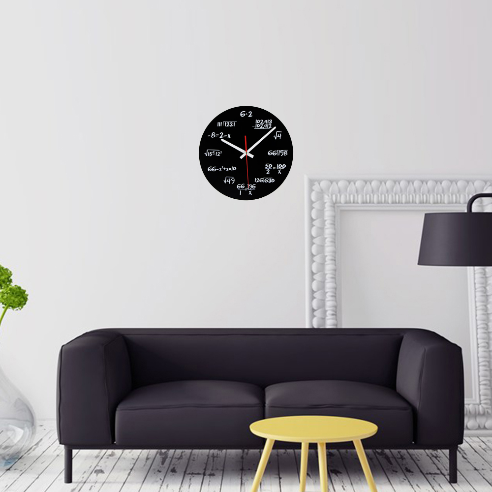 horloge math matiques imprim e sur plexi noir haute qualit originale formules math matiques. Black Bedroom Furniture Sets. Home Design Ideas