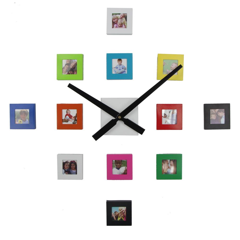 2018 chaude 12 photo horloge murale design moderne diy cadre photo horloge salon d coration - Cadre salon design ...