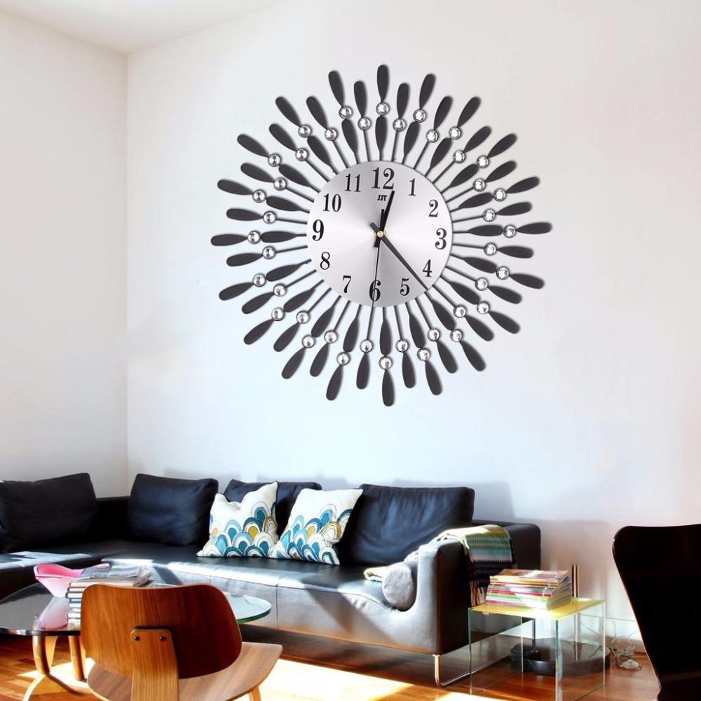 Horloge De Bureau Originale horloge murale de salon / bureau style luxe dorée ou argentée