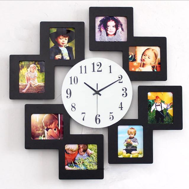 Cr atif moderne en bois photo cadre horloge murale personnalit d coration muet lectronique for Horloge murale bois moderne