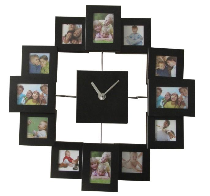 design moderne cadre photo horloge avec 12 photos grand d coratif en m tal horloge murale salon On cadre photo horloge murale