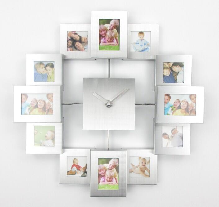 design moderne cadre photo horloge avec 12 photos grand d coratif en m tal horloge murale salon. Black Bedroom Furniture Sets. Home Design Ideas