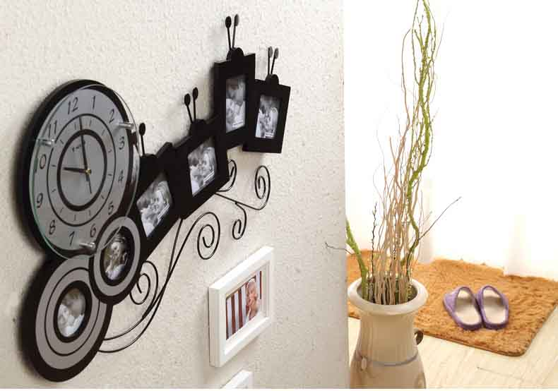 grande photo horloge murale avec cadre photo salon horloge. Black Bedroom Furniture Sets. Home Design Ideas