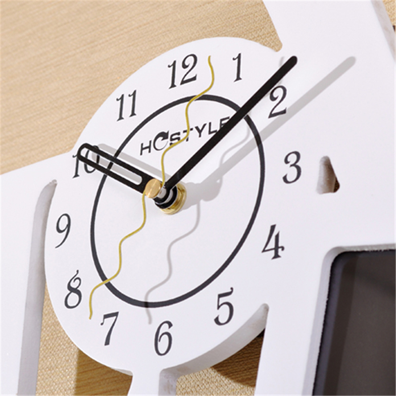 Produits m nagers parede decorativo blanc cadre photo horloge murale design moderne en bois for Horloge murale design bois