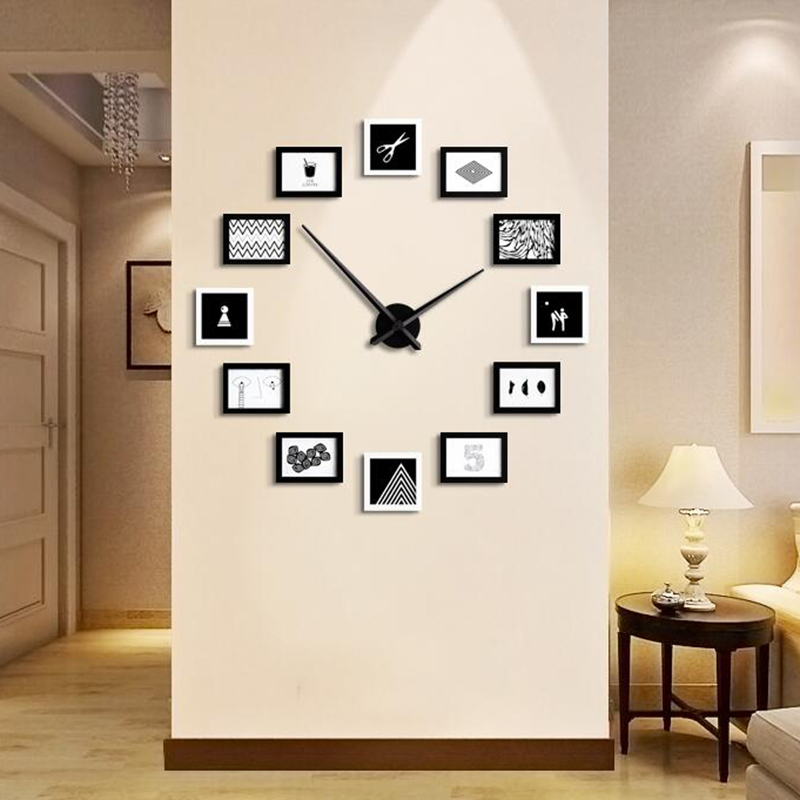 vente chaude creative big bricolage horloge murale avec en bois photos photo cadre moderne. Black Bedroom Furniture Sets. Home Design Ideas