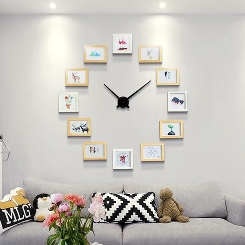 Bricolage horloge murale avec en bois avec photos cadre moderne design deco 39 clock for Horloge murale moderne salon